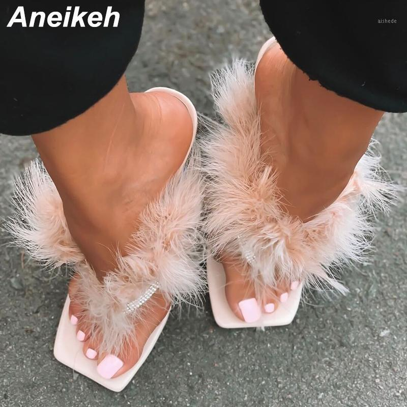 Aneikeh Summer Woman Hairy Fur FLIP FLOPS PVC Transparent Feather Perspex Crystal High Heels Peep Toe Mules Ladies Slides Shoes1