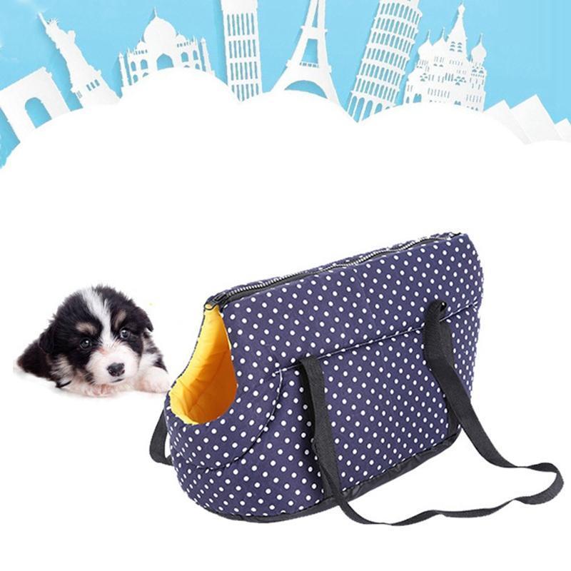 Cão Capas de Carro Capas de Bolinhas Impressão Pet Carrier Sling Inverno Gato Quente Viagem Ao Ar Livre Bolsa De Ombro Pequeno