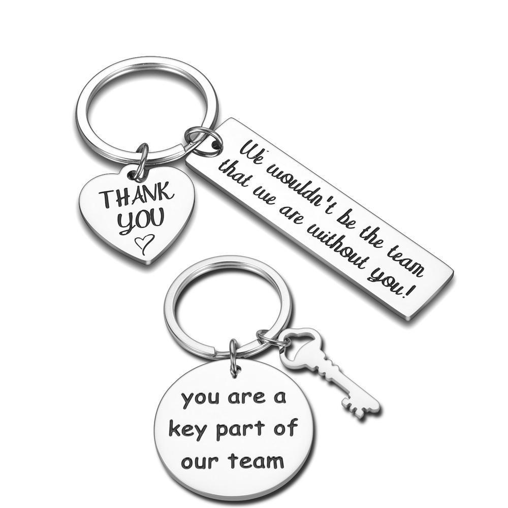 El aprecio del empleado llavero de regalo para el maestro Compañero de trabajo del trabajo del equipo del jugador Gracias Charm accesorios llaveros Cadena