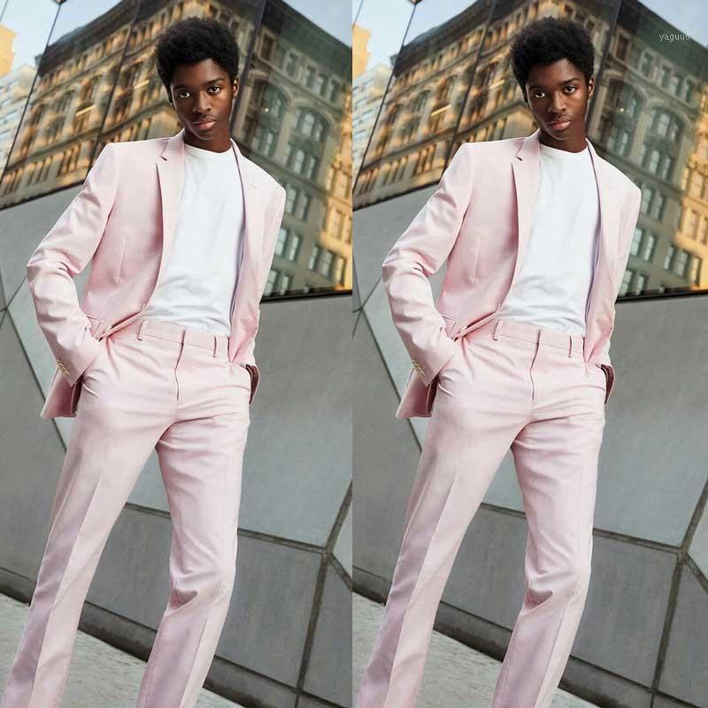 Último diseño Pink Coat Pantalones Hombres Trajes para bodas Negocios de promoción TUXEDO 2 piezas Terno Masculino Traje Homme Man Blazers1