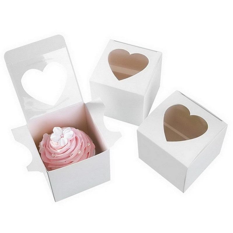 PVC Window Cupcake Box 7.5*7.5*7.5cm White Glossy Heart-shaped Window Cake Gift Favour Boxes For Valentine Day Wedding
