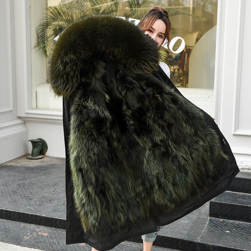 2020 de lujo Piel real Liner Coats genuino del mapache cuello de las chaquetas del mapache piel natural Mujer Parkas invierno caliente grueso largo Parkas