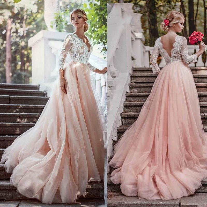 Vestidos de manga larga de cuello rosa Apliques Corte del V Tren Línea Abierta Volver Vestidos de novia Vestidos de Noivas Q1112