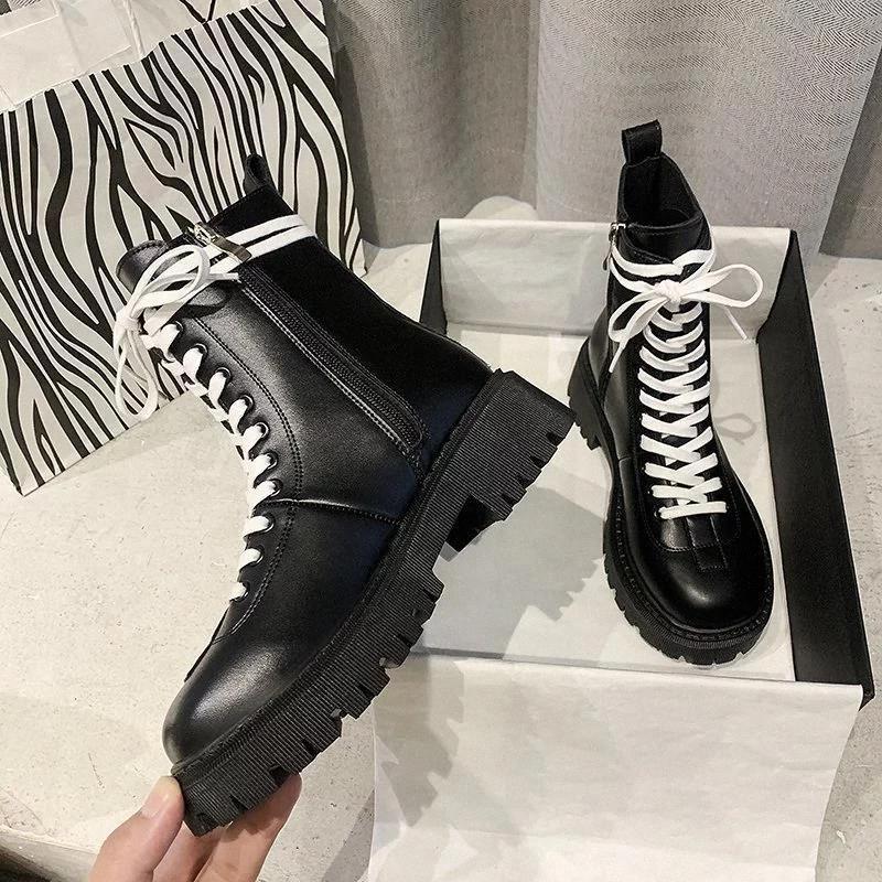 Bottes à lacets rondes Chaussures Femmes Chaussures Automne Bottines Dames Hiver Chaussures d'hiver Prestige Designer Rock Mid-veaux Mode Botas Mujer # DV0P