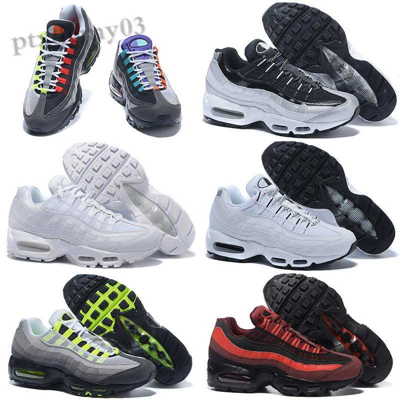 NIKE AIR MAX 95 2020 Bred OG White Gym Red University Gold Laser Fuchsia Men Shoes Triple Black Mens Trainers Sports Sneakers Size 36-46 SH06