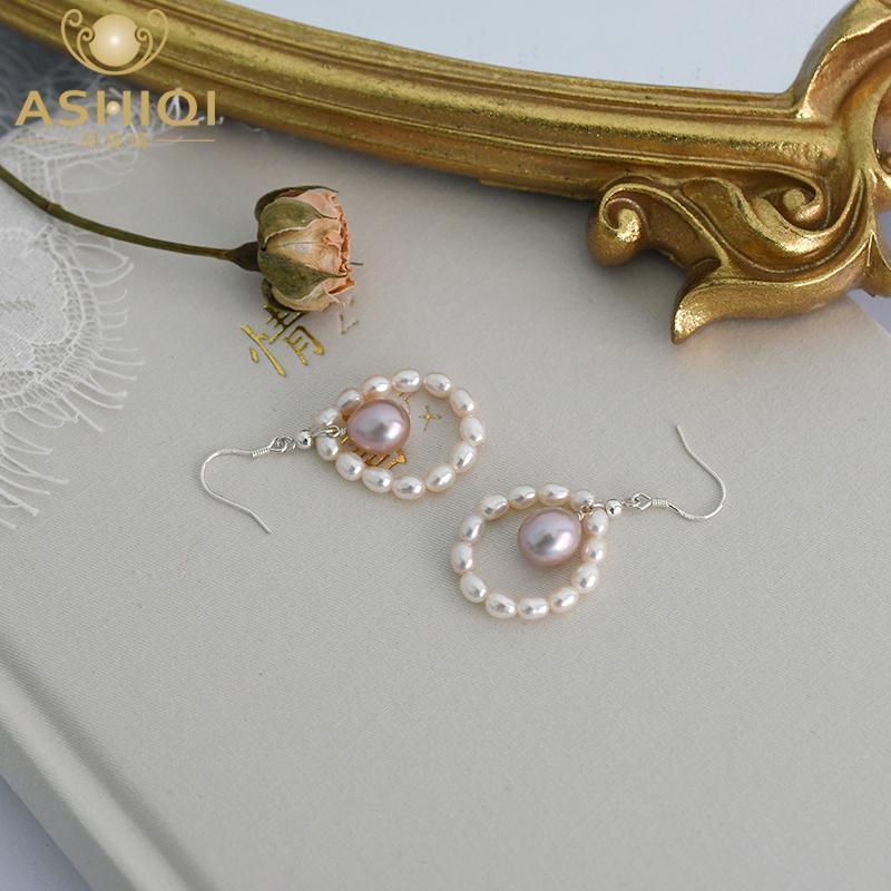 Ashiqi natürliche süßwasserperle dorp ohrringe 925 sterling silber ohrringe baumeln für frauen luxus feinschmuck