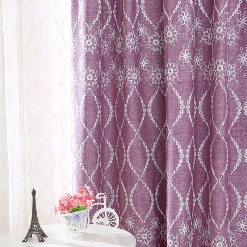 Amerikanische lila / grüne Blackout Vorhänge für Wohnzimmer Schlafzimmer Leinen bestickte Voile Vorhänge für Fensterbehandlungen DRAPES1