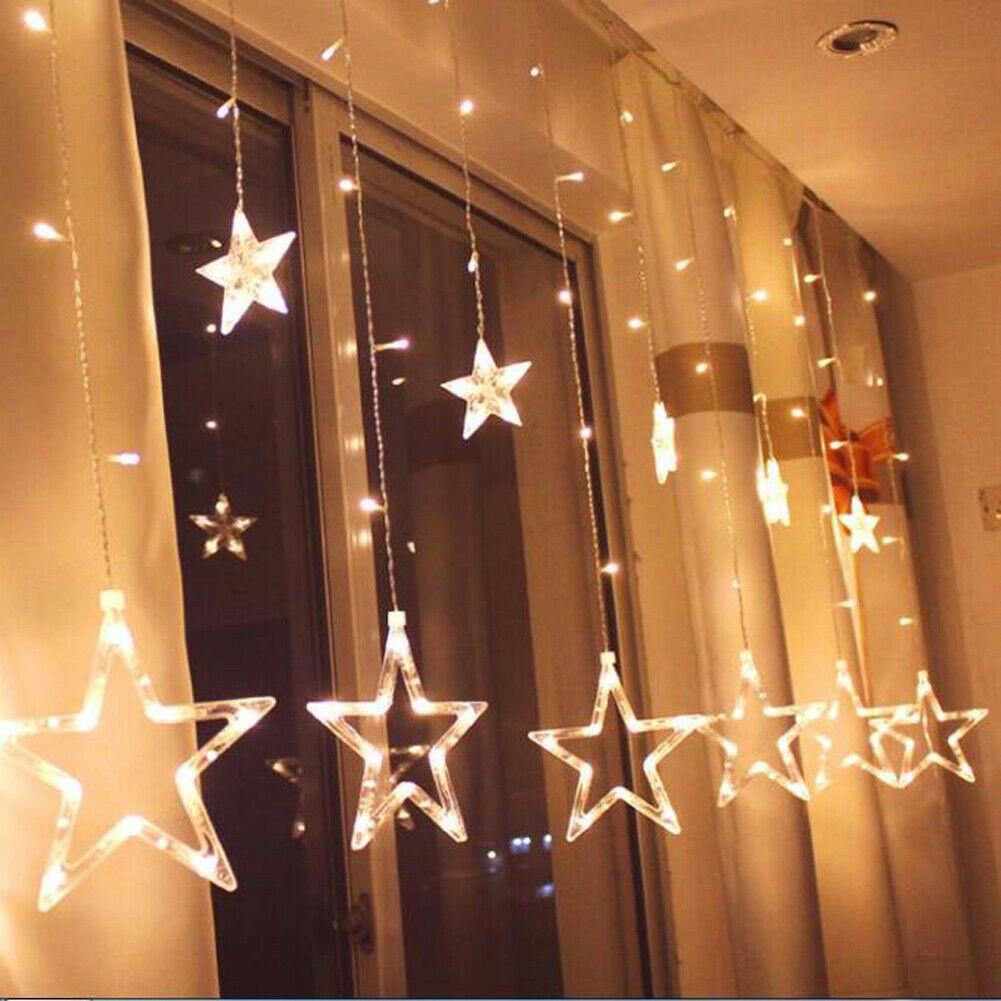 2.5 M 138 LED Gadget 12 Yıldız Peri Dize Perde Pencere Işıkları Pırıltı Noel Tatil Ev Partisi Düğün Garland Veranda Çim Dekorasyon