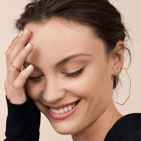 Moda Smooth Octagon grandi orecchini per le donne geometrica Hollow Orecchino ad anello personalità semplice del partito di promenade estetica Gioielli