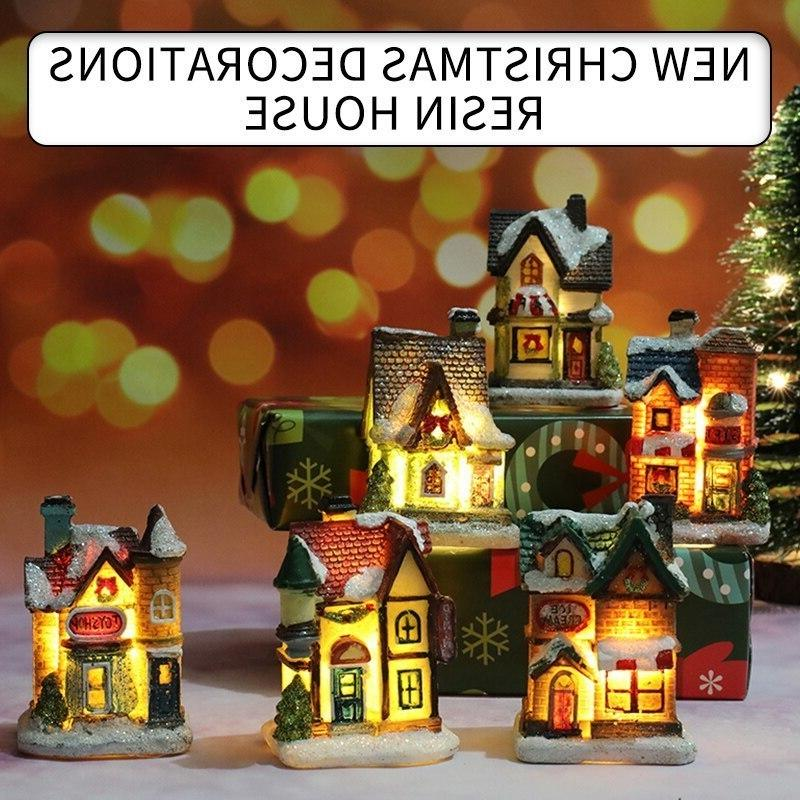 Mini LED Süslemeleri Mobilya Işık Bebek Reçine Ile Minyatür Ev Ev Dekorasyon Noel Hediyeleri