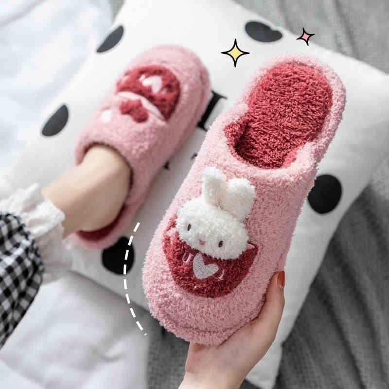 Women Fur Slippers Winter Warm Shoes Cartoon Bunny Bear Slip On Men Ladies Couples Home Indoor Bedroom Girls zapatillas Mujer Y201026