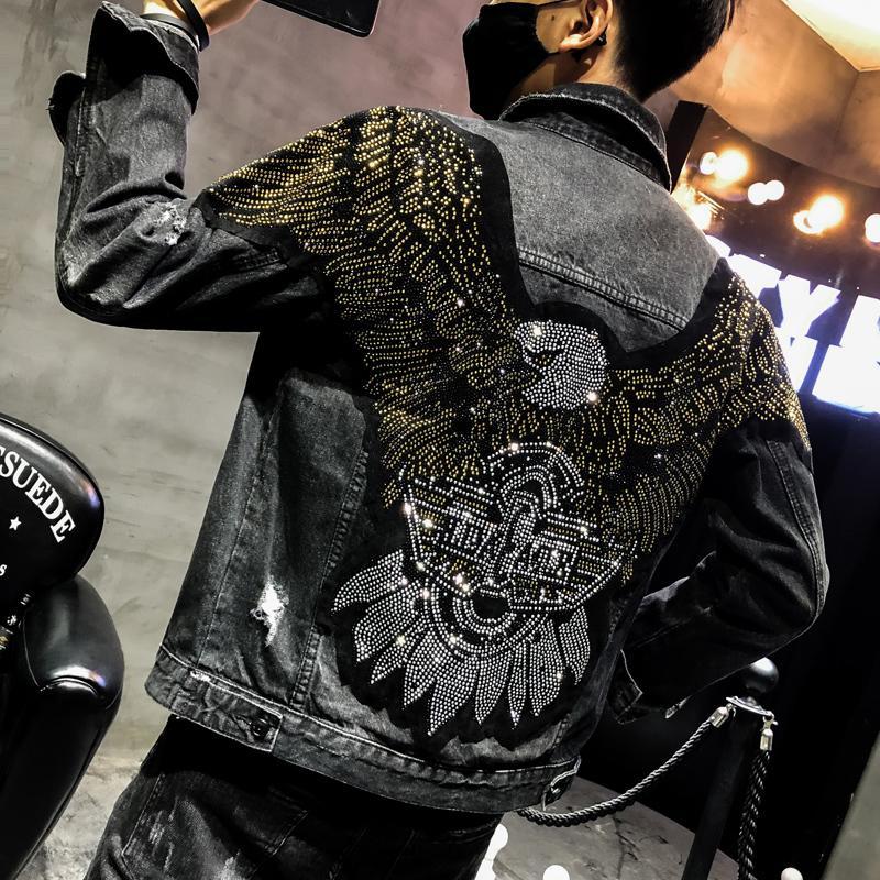 Stile denim ricamato Yasuguoji Moda Aquila Nuova patch Jean 2019 Giacche Punk Streetwear nera sottile rivestimento degli uomini