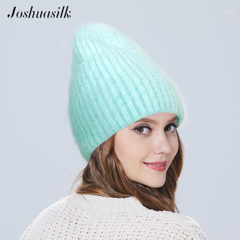 Joshuasilk Женская ангора шляпа зима вязаная для девочки с отворотом двойной с помощью линьки1
