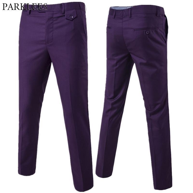 Violet Slim Fit Robe droite Pantalons Hommes Tout neuf Office officiel Pantalon à front plat pour hommes Business Mariage costume Pantalon Homme Y200114