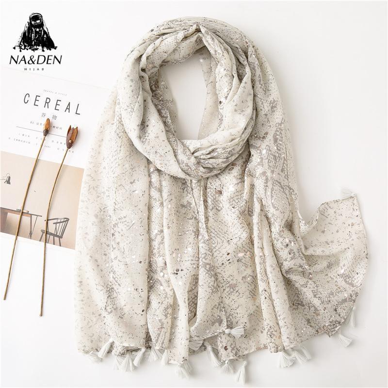 Мода мытья золотые пятна и полиграфические белые шарф с кисточками хиджаб калейдоскопический шаль мягкий тюрбан новые женщины мусульманские хиджаб Hot1