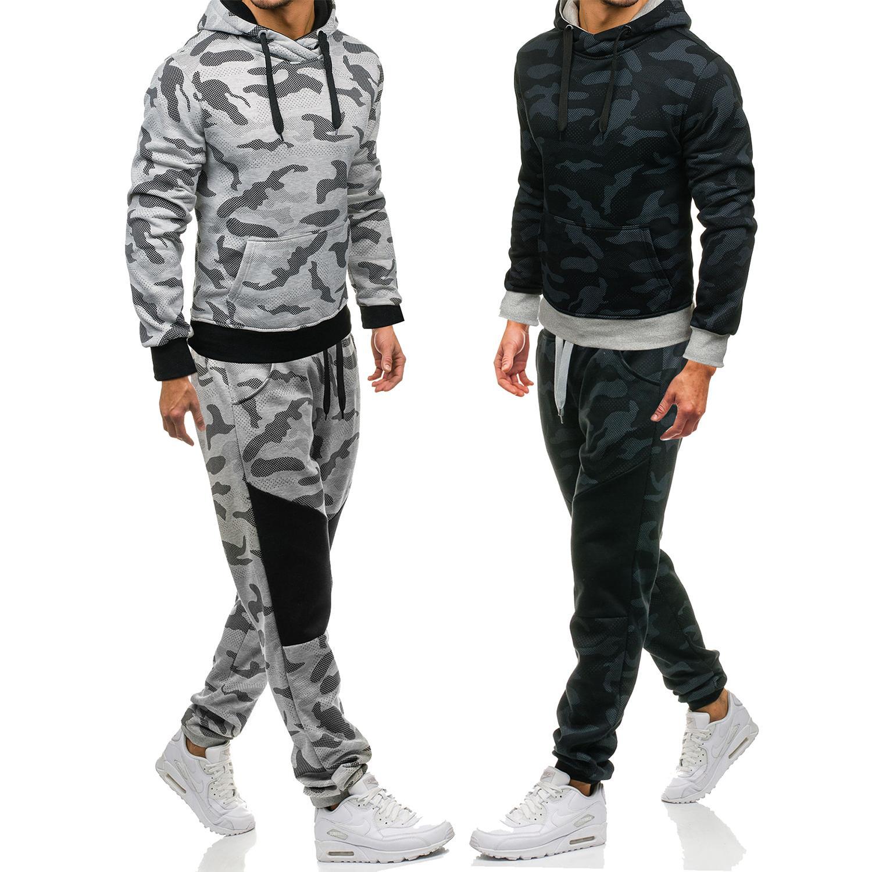 ربيع الخريف رجل الرياضة رياضية مصمم كم طويل camouflageprint هوديس السراويل 2 قطع الملابس مجموعات تشغيل أوم الرياضية