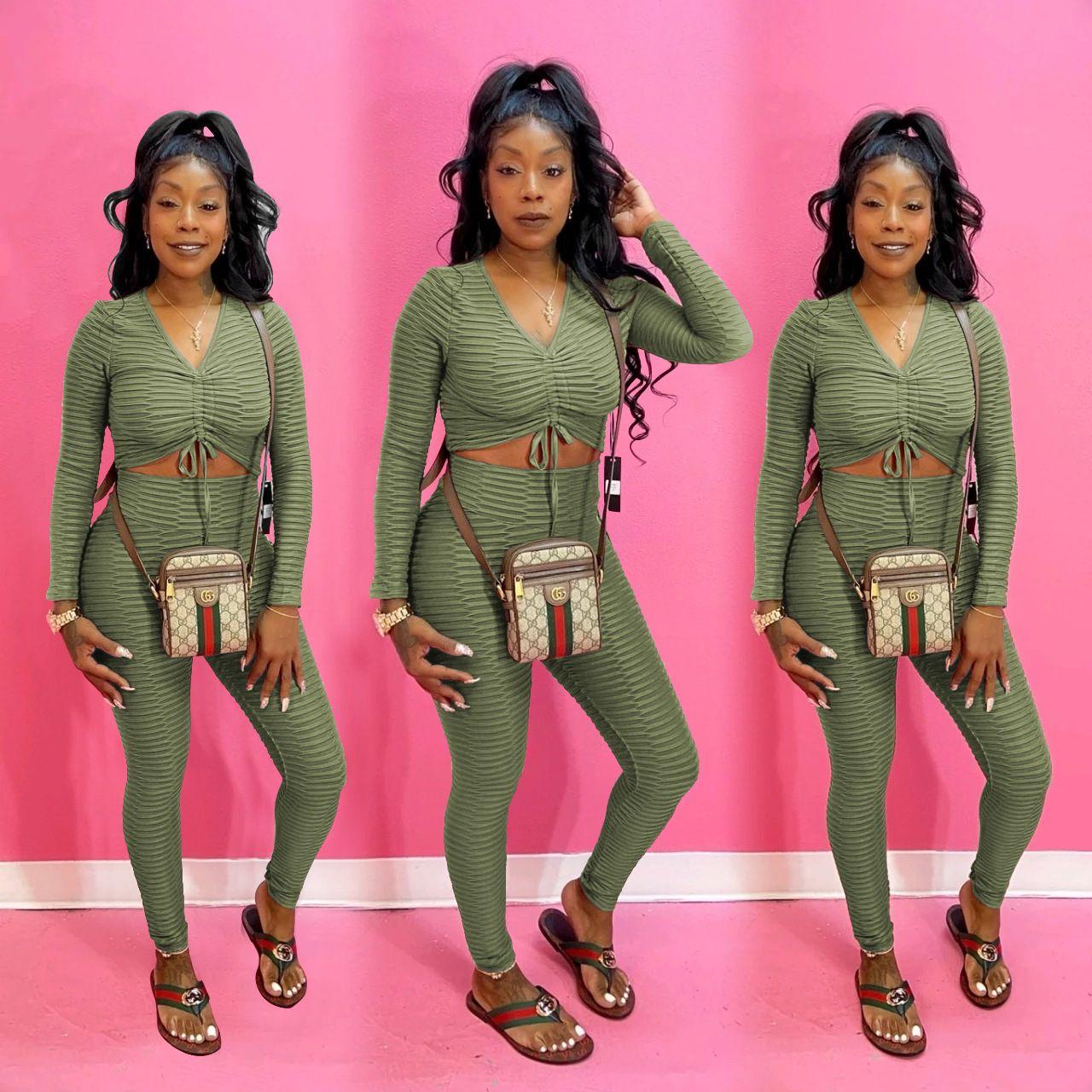 Vendaje atractivo para mujer Diseñador Outsuits color sólido con cuello en V ahueca hacia fuera el otoño del resorte Ropa 2 Piezas