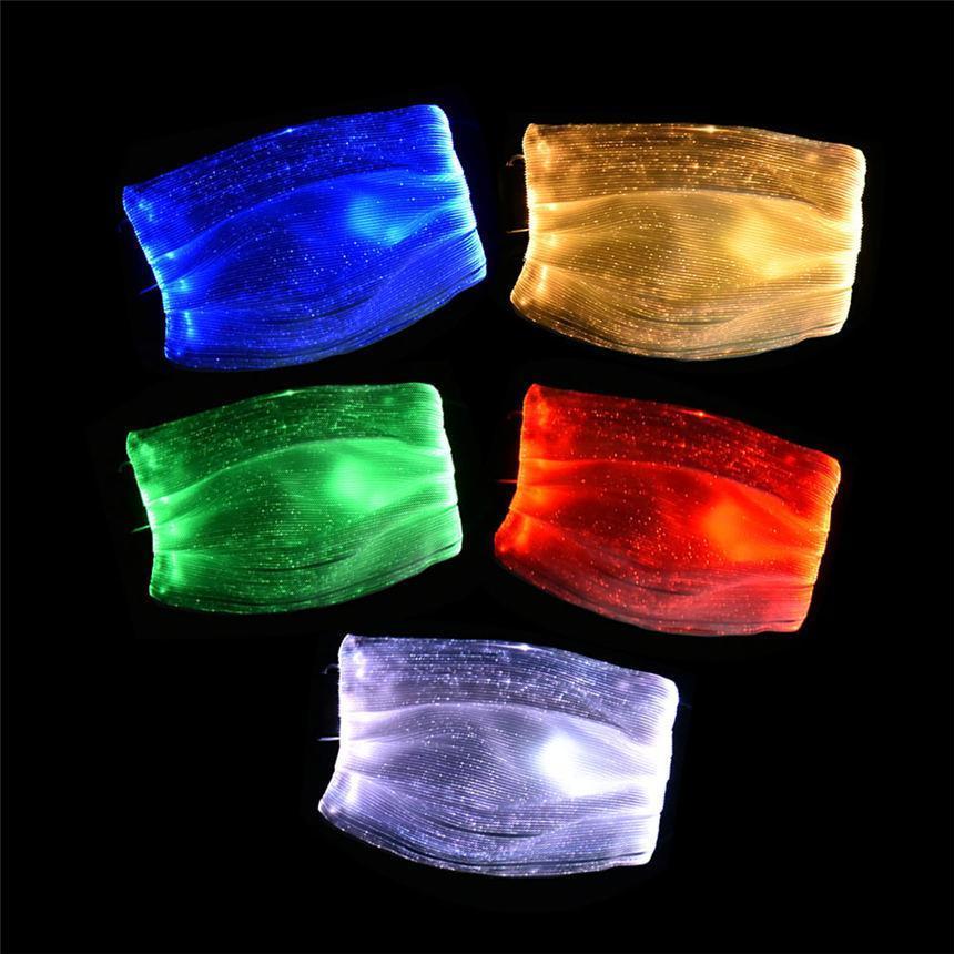 Maschera Moda splendente di PM2.5 filtro 7 colori luminosi LED viso maschere per il festival Festa di Natale Masquerade Mask Rave Decoration OWF2566