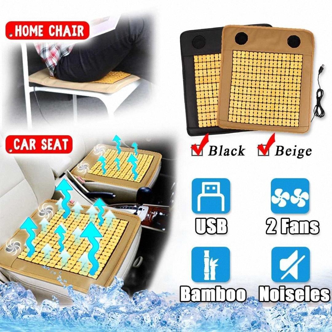 3D USB Bamboo Подушка охлаждения Автокресло Крышка 2 ВСТРОЕННЫЙ воздуха вентилятора Вентилируемые Вентилятор Cooler Pad для автомобилей / Home / Office Chair Jfbq #