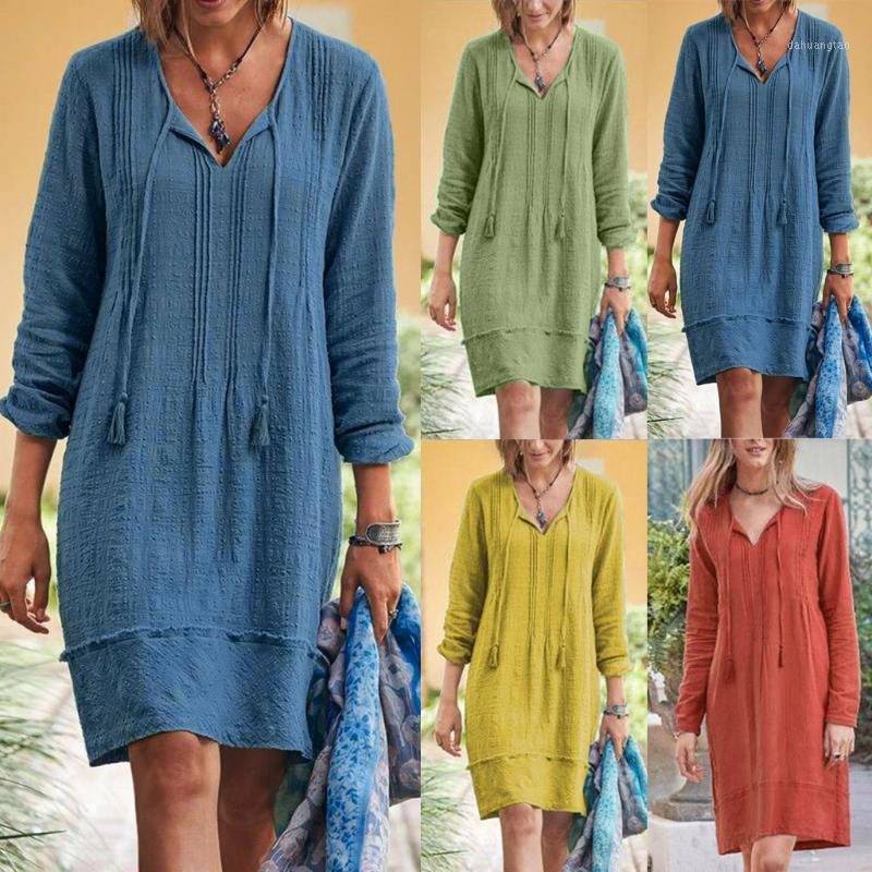 Modische Pullover Kleid Damen Casual Mini Street Kleid Große Größe Lose Home Pendler Feste Farbe Frauen 8.61