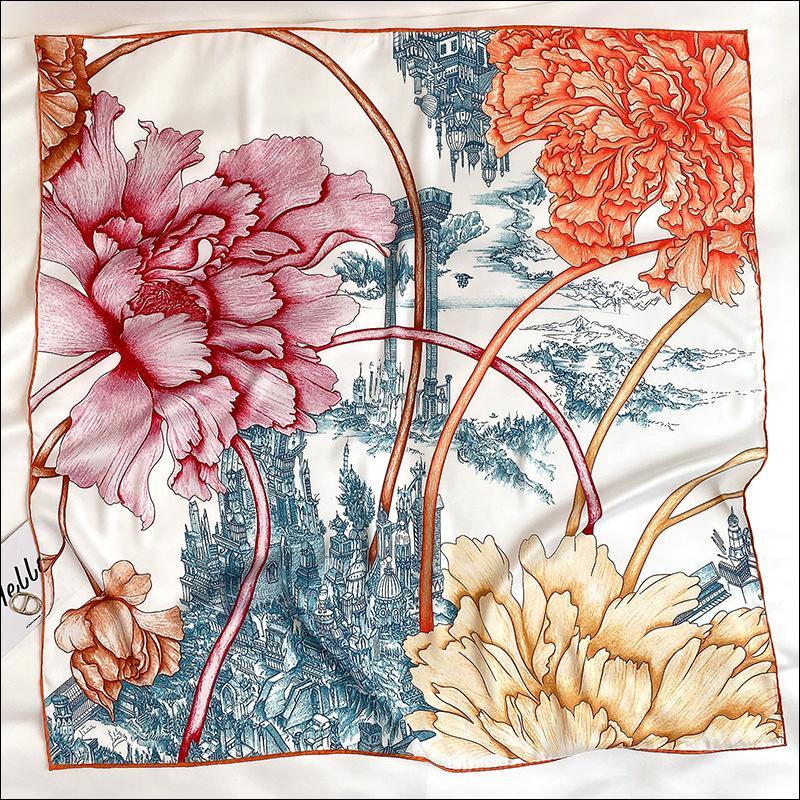 Foulard Satin Square Seidenschal Weibliche Seidenkopfschals für Damen Hand Rolled Schal 90 Foulard Luxe
