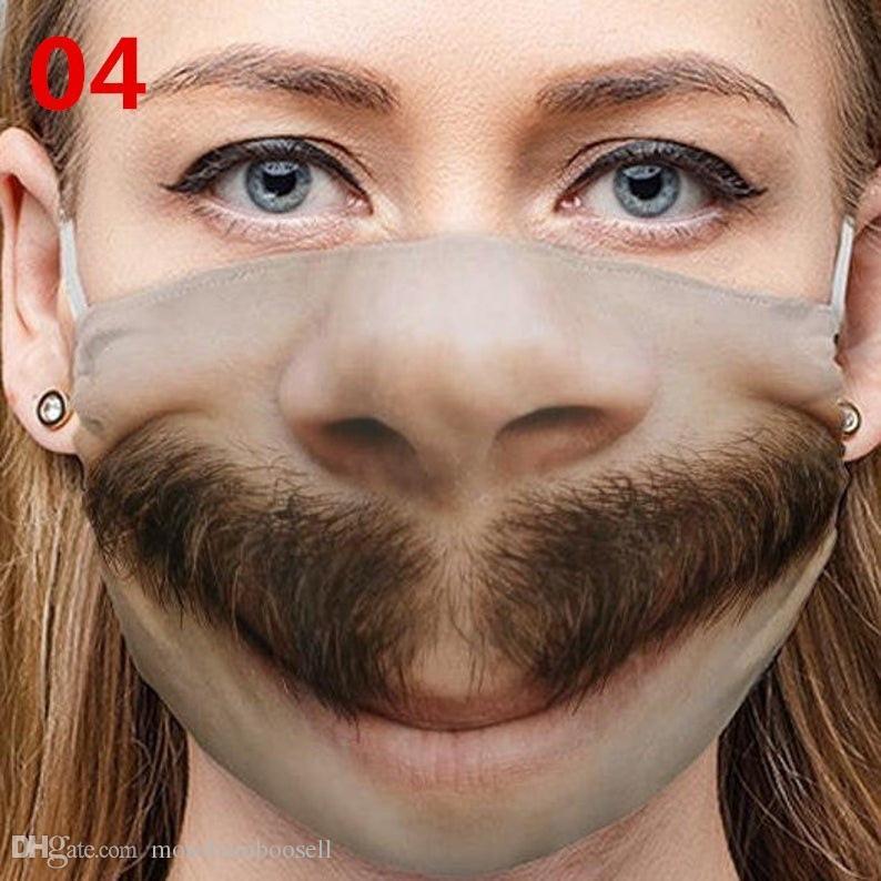 Смешное лицо Mascarillas смайлик улыбка борода зубы хлопчатобумажные сигары респиратор респиратор рот языка многоразовые лица маски моющиеся