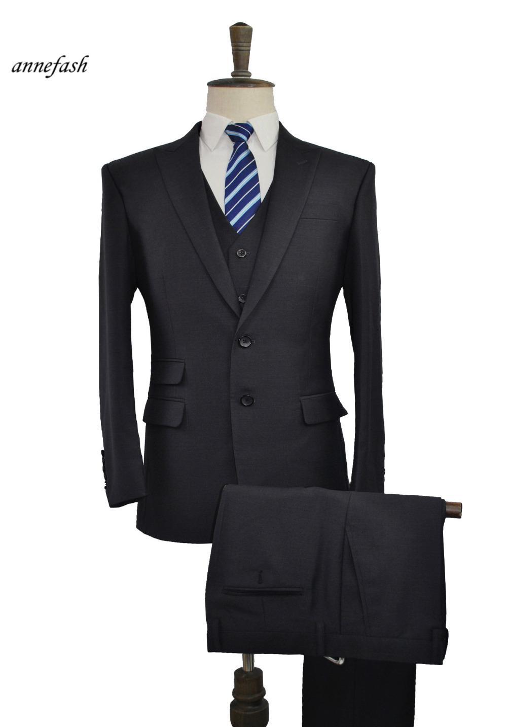 Мужская чистая шерсть черный бизнес, сделанный портной для портной версии свадебный костюм куртка брюки жилет высокого качества