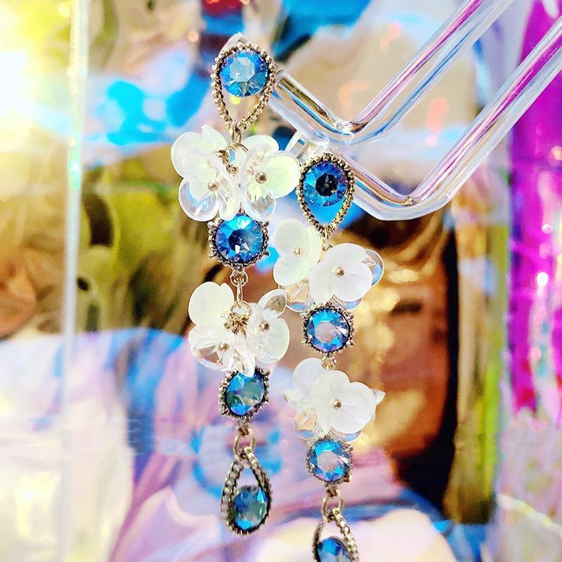 Jóias MENGJIQIAO 2020 azul Moda de Nova Vintage cristal brincos Para Mulheres Meninas Acrílico da pétala da flor Pendientes férias