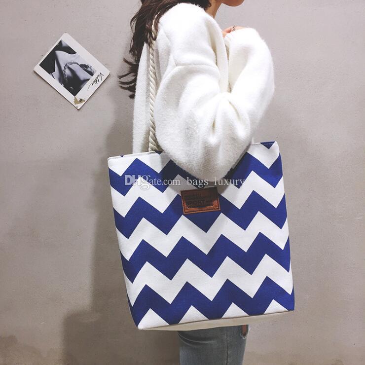 Kadın çanta moda tuval alışveriş çantası çok fonksiyonlu büyük şerit plaj çanta omuz çantası vahşi kaba sicim çizgili saklama çantası