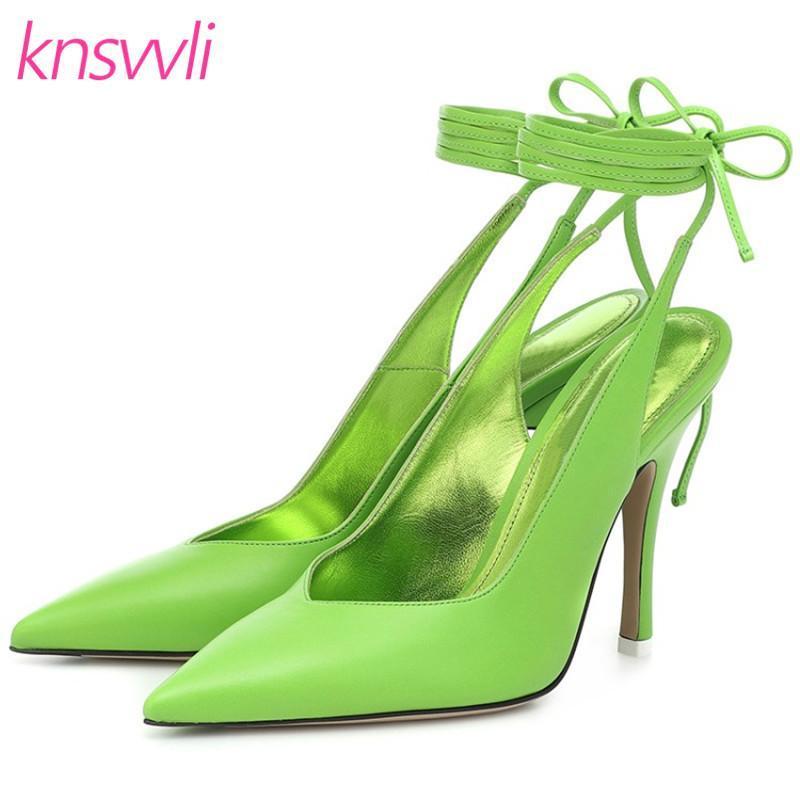 New High Heels raso Runway Scarpe donna a punta le dita dei piedi della caviglia Croce Lace Up Sandali signore di colore della caramella sexy stiletto Donne Pumps