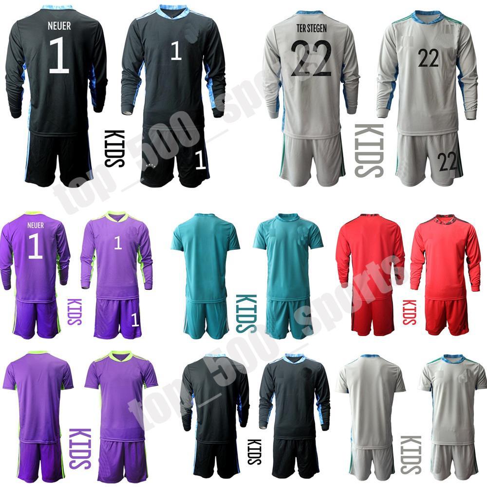 새로운 2021 청소년 긴 소매 국립 대답 1 Neuer 축구 유니폼 20 21 어린이 키트 골키퍼 GK 아동 축구 셔츠 키트 세트