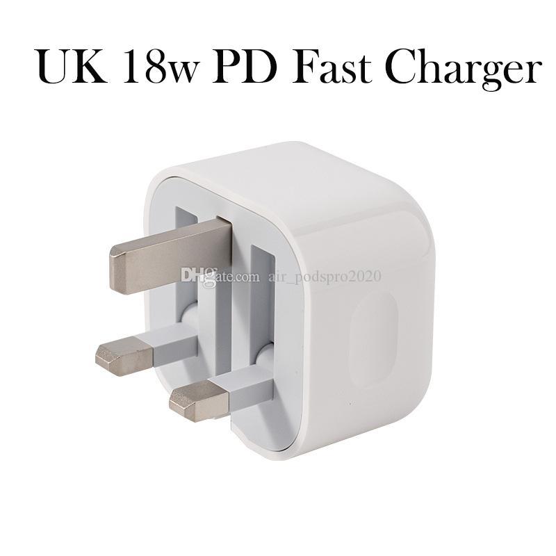 100 % OEM 품질 18W 5V 3A UK 플러그 USB-C AC 전원 어댑터 충전기 벽 어댑터 iPhone11 11pro 11pro max 소매 상자
