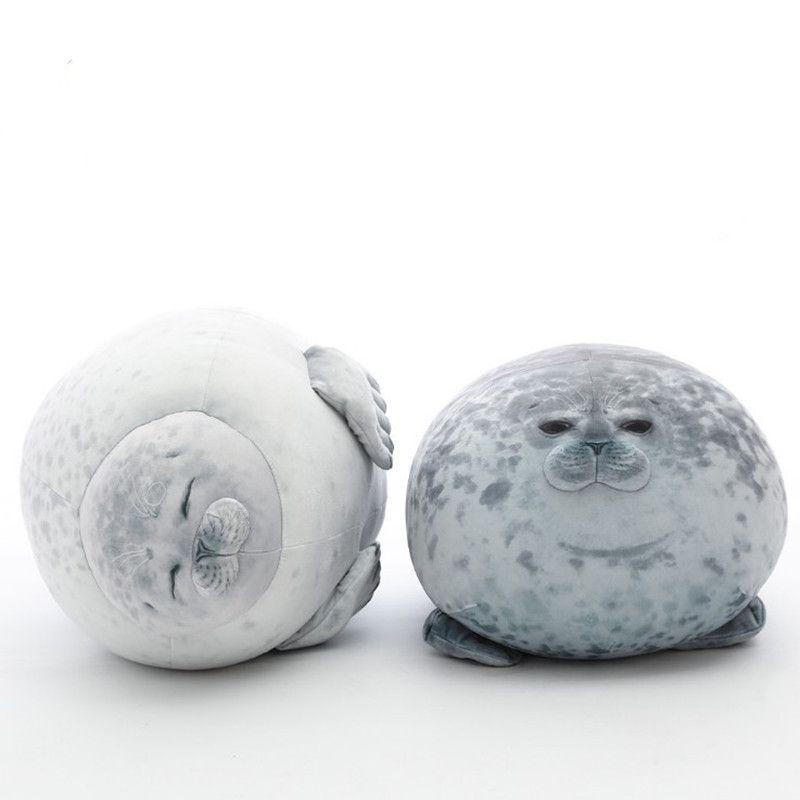 Enojado blob sello almohada gordito 3D novedad mar león muñeca peluche peluche juguete bebé dormir lanzar regalos de almohada para niños niñas T200731