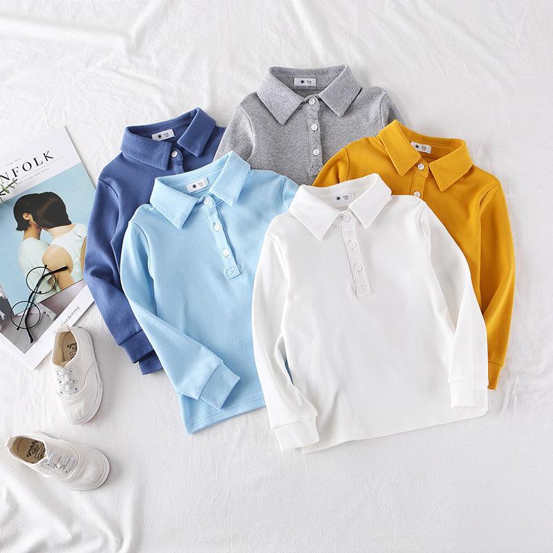 2020 Sonbahar Erkek Polo Gömlek Uzun Kollu Tişört Çocuklar Boy Alt Katı Renk Çocuk Tişörtü Bebek Giyim 1006 İçin