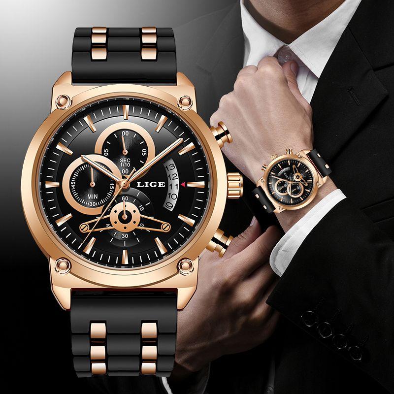 LIGE New Classic Black Mens Montres Haut Marque Montre de Prestige pour Man Militaire Silicone Militaires Quartz Horloge Relogio Masculino LJ201202