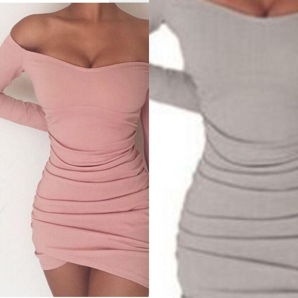 ctwLt nuovo gonna autunno manica lunga sexy di una sola riga collare dell'anca irregolare vestito 95htP pieghe delle donne hip skirtWomen