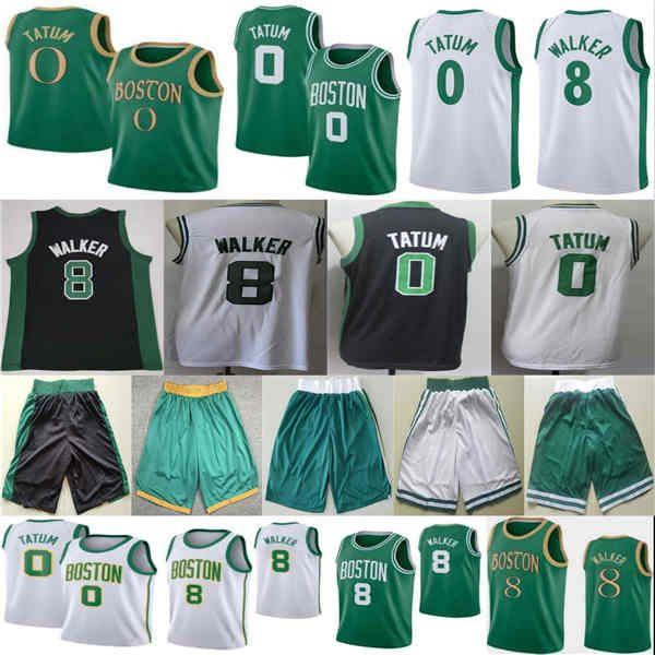 2021 Neue Kemba Jayson 8 Walker 0 Tatum City Basketball Jersey Shorts Schwarz Grün Weiß