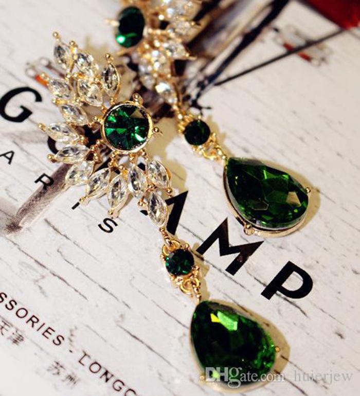 여성 방침 새로운 한국어 크리스탈 드롭 귀걸이 다이아몬드 보석 날개 깃털 보헤미안 귀걸이를위한 귀걸이
