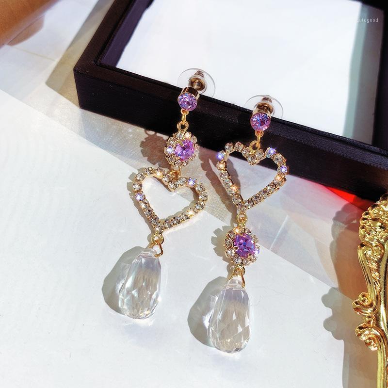 Dangle Avize Asimetri Hollow Aşk Kalp Tam Rhinestone Küpe Kadınlar Için Simüle İnci Su Damlası Kristal Kolye Jewelry1