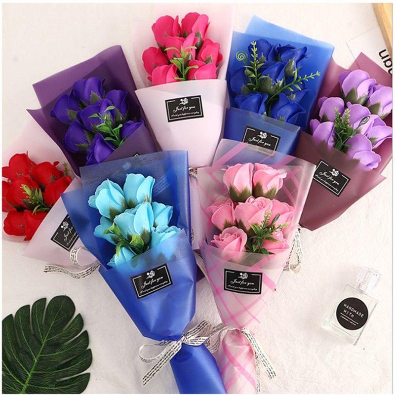 7 Red Rose Simulation Fleur Saint Valentin Manuel Manuel Artificial Fleurs Multi Couleur Savon Petit Bouquet Cadeaux Cadeaux Papier Emballage Corde 4 3JH L2