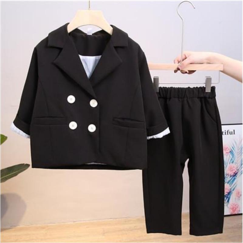 Fashion Girl Boy Formal Clothes Set Suit Jacket+Pant Toddler Baby High Quality Suit Blazer Jacket Thick Korean Baby Clothes LJ201203