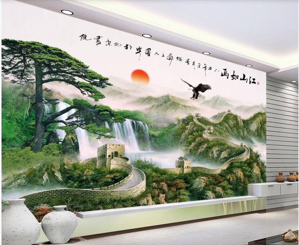 3D Wallpaper benutzerdefinierte Foto chinesischen Stil großen Mauer Berglandschaft Wohnzimmer Wohnkultur 3D Wandbild Wandmalereien Tapete für Wände 3 d