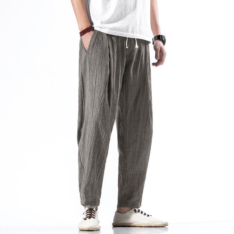 pantalon en lin style chinois pantalon décontracté été des hommes harem linge de coton hommes longueur cheville lâche mince de