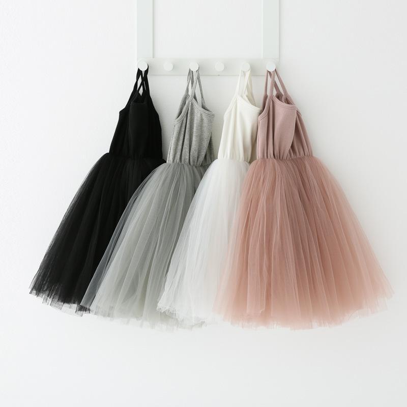 패션 여름 소녀 드레스 솔리드 컬러 브레이스 Pleated 민소매 무릎 길이 아이 춤 파티 드레스 아기 소녀 키즈 옷 18MT L2