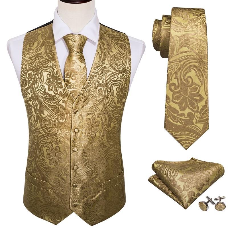 4шт мужской Extra Silk Vest Party Wedding Gold Paisley сплошной цветочный жилет жилет карманный квадратный галстук набор T200117