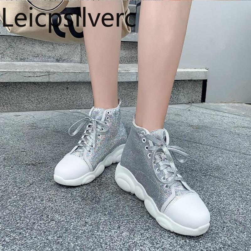 Automne et hiver nouveau style de paillette dentelle Casual bottes courtes plates Bottes Wedge Femmes Noir Argent taille plus élevée 34-46 4.5cm