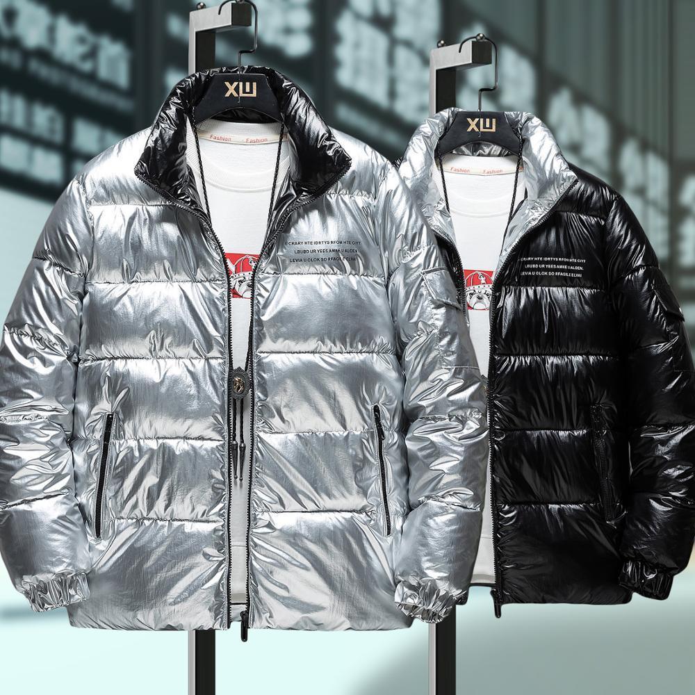 Neue Männer Daunenjacke für Herren Short Wear Stehkragen Mode glänzendes Fell Schwarz-Silber-Winter-Parkas