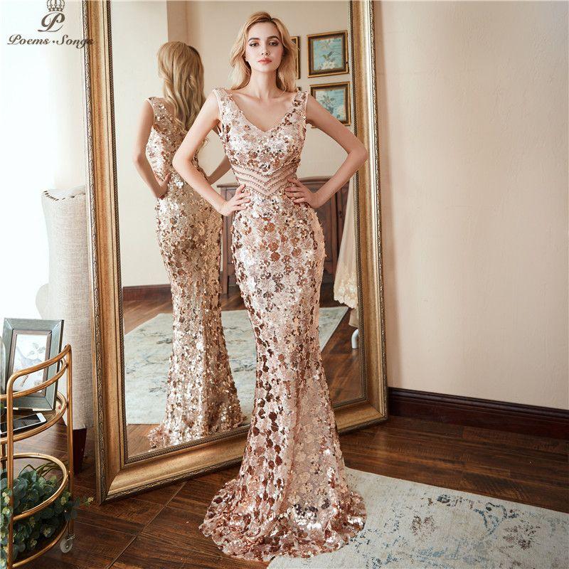 Poems songs Double V-neck Evening Dress vestido de festa Formal party dress Luxury Gold Long Sequin prom gowns reflective dress LJ201125