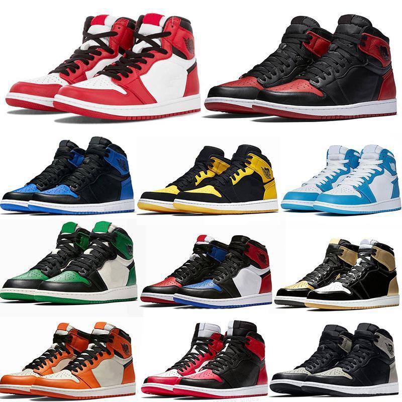Jumpman 1 Basketball Shoes chicago OG Running shoes royal toe black metallic gold pine green black UNC Patent men women Sneakers trainers