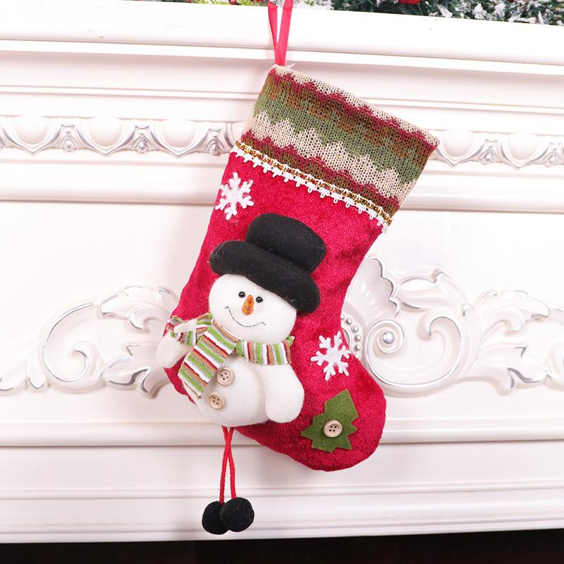 Free Shipping 2020 new product cartoon cute christmas socks gift bag flannel small christmas gift bag Party pendant ornaments F5503